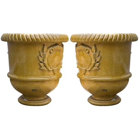 Yellow Glazed Terra Cotta Planters For Sale At 1stdibs Terra Cotta Planter