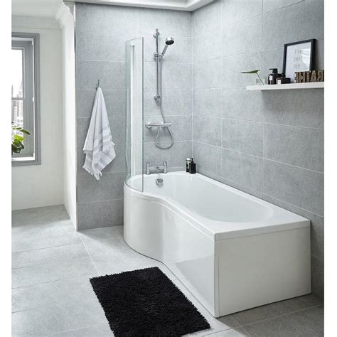 premier mm left hand whirlpool p shaped shower bath