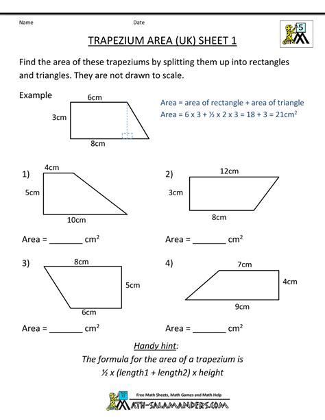 printable area and perimeter quiz math practice worksheets