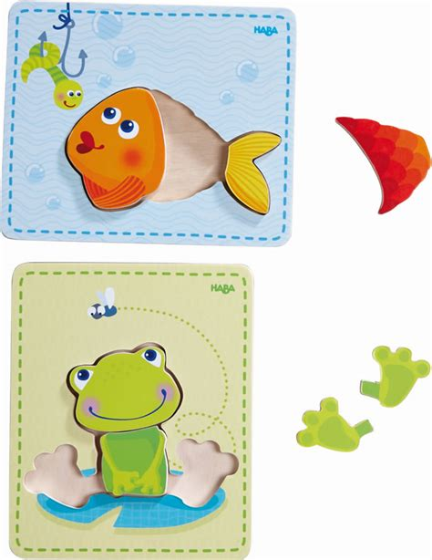Puzzle L by Haba Wooden Puzzle Frog Fish 300530 At Papiton