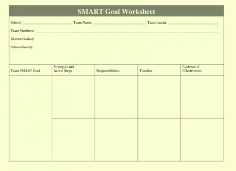 goal setting template for employees smart goals template exles worksheets for employees