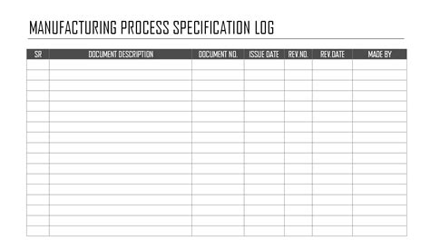 manufacturing route card template excel manufacturing process specification log format sles