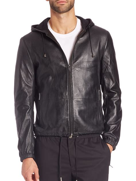 Black Hoodie Jacket michael kors leather hoodie jacket in black for lyst