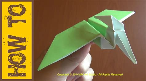 How To Make A Paper Flying Dinosaur - how to make easy dinosaur origami flying pterodactyl