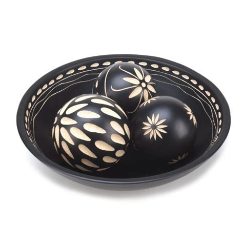 beautiful black decorative wood balls detailed tray coffee
