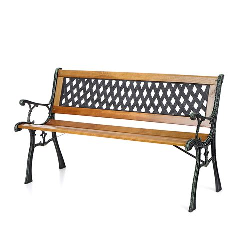 wood and cast iron bench wood ikayaa 50 quot cast iron wood outdoor garden patio bench