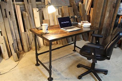 wood and pipe desk industrial pipe reclaimed wood desk