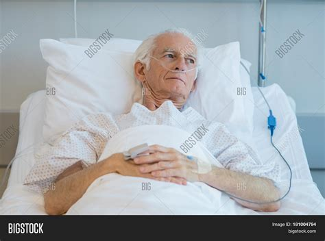 old bed guy senior man oxygen tube lying on image photo bigstock