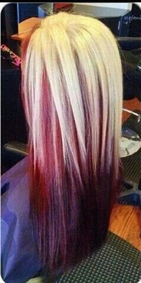 reverse hombre hairstyle pictures reverse ombre blonde red n purple hair pinterest my