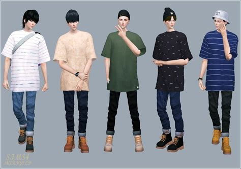 sims 4 cc male geek shirts male boxytee 박시 티 남성 의상 sims4 marigold sims 4 cc