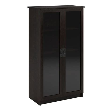 Black Bookcases With Glass Doors Altra Furniture 4 Shelf Glass Door Barrister Bookcase In Black Forest 348012pcom