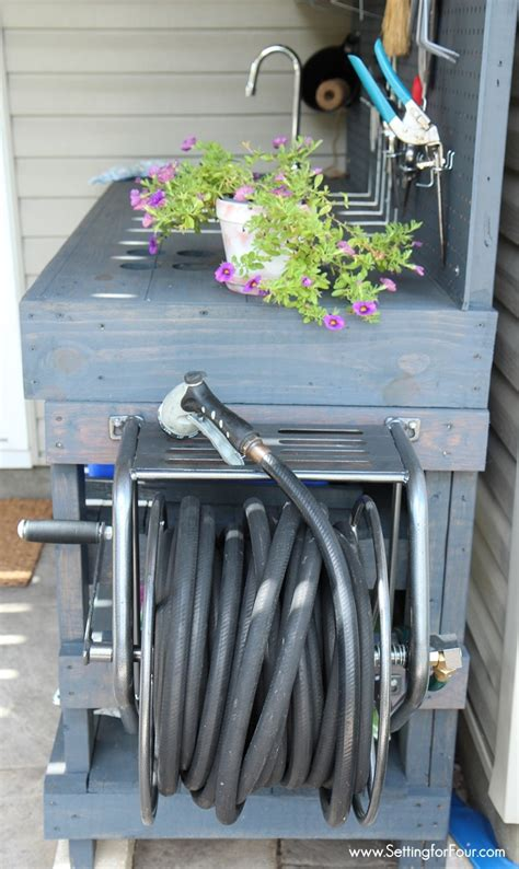 inexpensive potting bench make it diy potting bench with sink setting for four