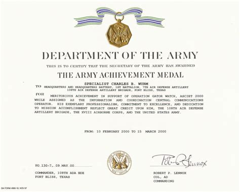 army achievement medal certificate education awards