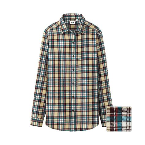 Uniqlo Flannel Shirt uniqlo flannel check sleeve shirt o in gray beige lyst