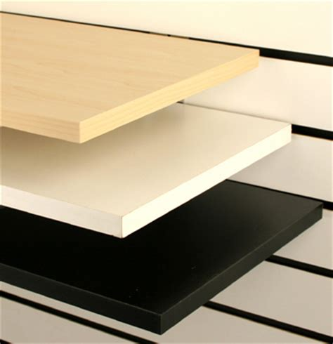 2x particle board shelves with brackets for slatwall