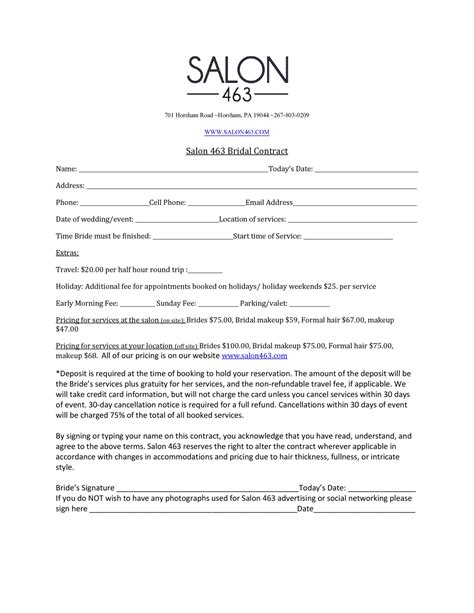 Salon463 Bridal Contract Docx Docdroid Bridal Contract Template For Hair