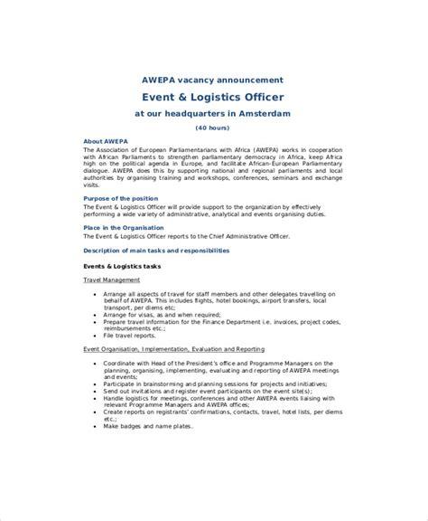 logistics description template logistics officer description sle 8 exles in