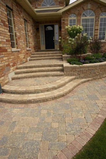 unilock front entrance  steps  stonehenge paver front porch  landscape   front