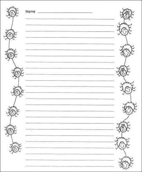 printable insect writing paper free spider writing paper school pinterest