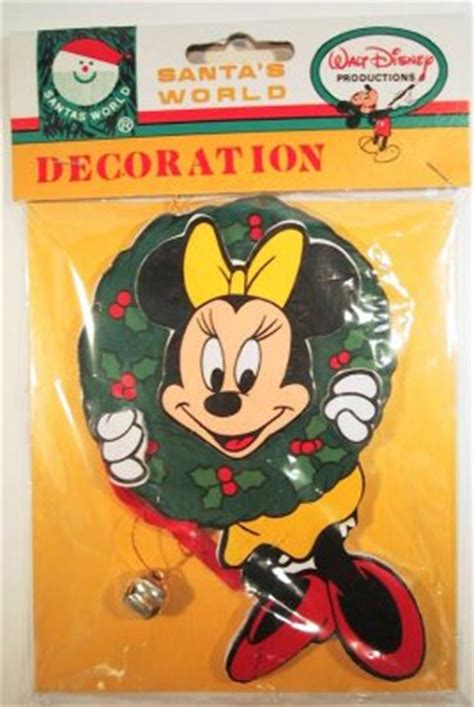 minnie mouse with wreath wooden ornament from our