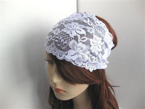 wedding hair cover ears wide white stretch lace headband flowers head wrap women s