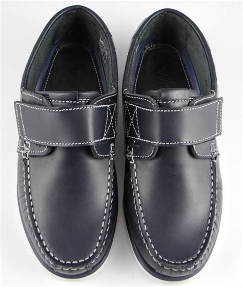 mens navy blue leather loafers mens dek navy blue leather velcro deck boat loafers shoes