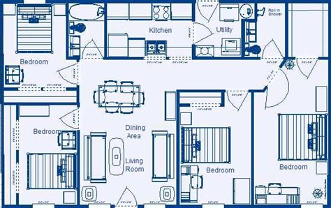 floor plans for a 4 bedroom 2 bath house home floor plan 1232 sq ft 4 bedroom 2 bathroom low medium cost house designs