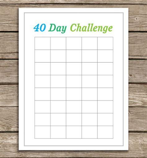 40 day calendar template free running chart