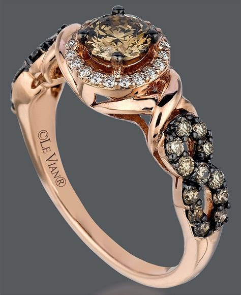 le vian 14k gold ring chocolate and white