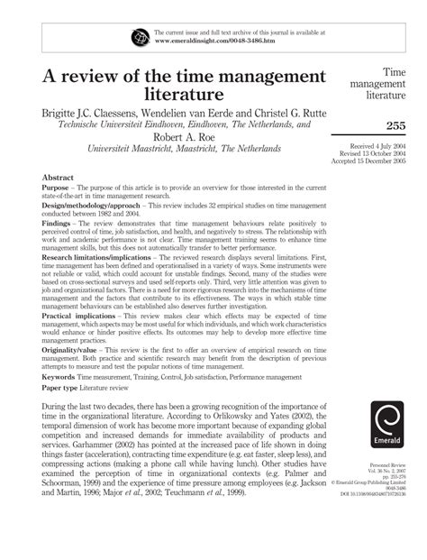 Review Of Related Literature Pdf by A Review Of Time Management Literature Pdf Available