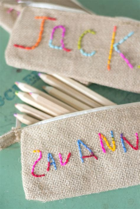 embroidery crafts projects kid embroidered pencil pouch jacks and kate
