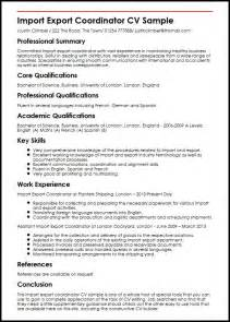 Import Export Coordinator Sle Resume by Import Export Coordinator Cv Sle Myperfectcv