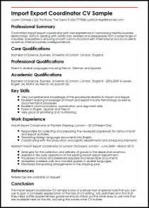 Import Export Sle Resume by Import Export Coordinator Cv Sle Myperfectcv