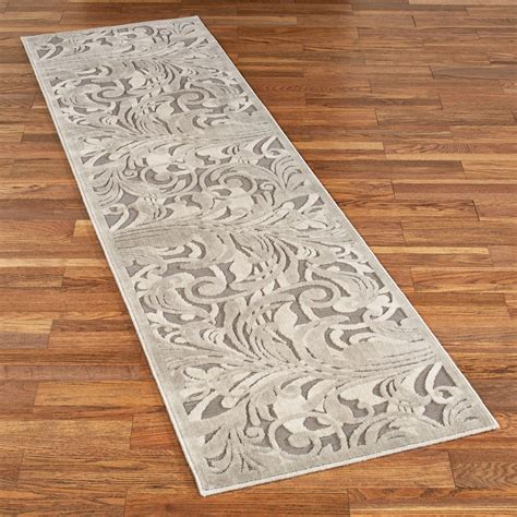 rug runner tantalizing graphic scroll gray rug runner