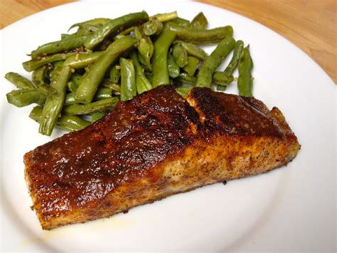salmon in oven pan seared oven finished salmon with barbecue sauce