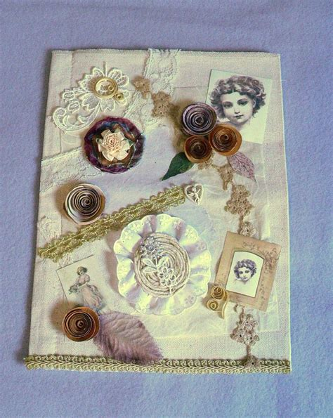 a canvas book with decorations and roses made on the