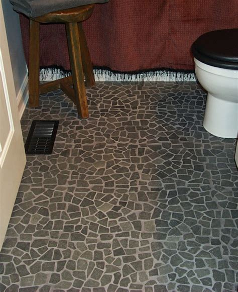 Bathroom Rock Tile Ideas Black Flat Pebble Flooring Lava Rock Mosaic Bathroom Floor