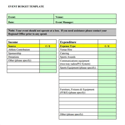 budget template word event budget template cyberuse