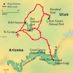 map of usa showing grand grand bryce and zion national parks national