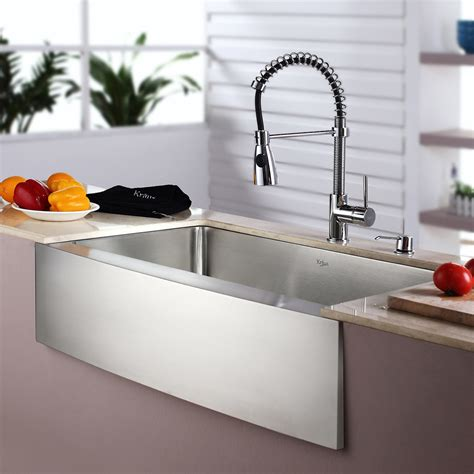 Kraus Kitchen Sinks Reviews Kraus Kitchen Combo 33 Quot X 20 Quot Single Bowl Farmhouse Stainless Steel Kitchen Sink With Faucet
