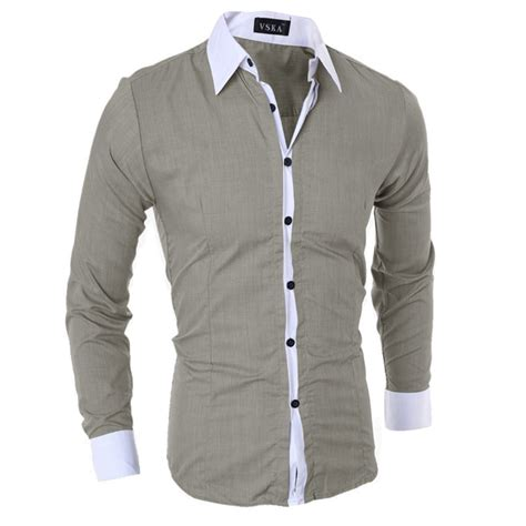 best dress shirts fashion mens luxury stylish casual dress slim fit t shirt casual sleeve top ebay