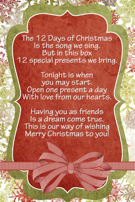 12 days of christmas gifts poems lds handouts 12 days nativity