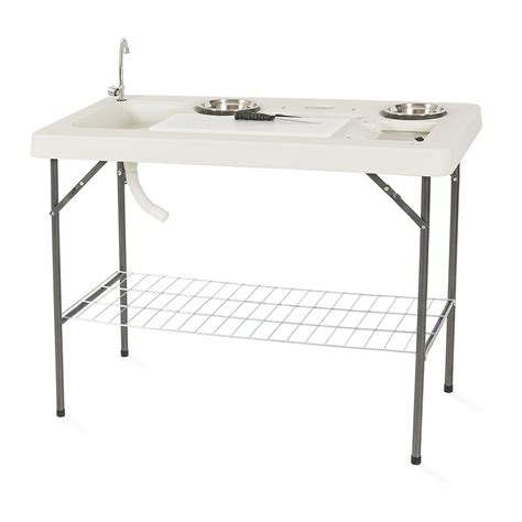 Portable C Fish Cleaning Table With Faucet by Portable Folding Fish Cleaning Cutting Table Set Outdoor
