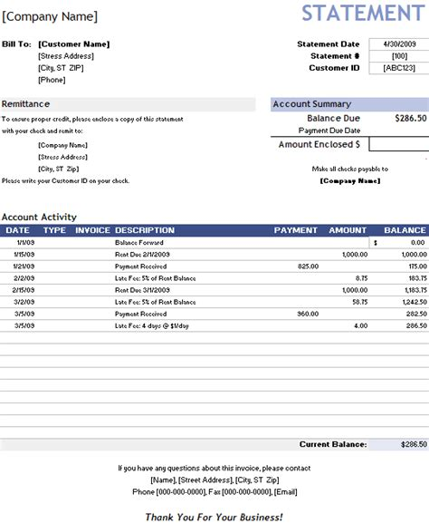 invoice statement template free billing statement format
