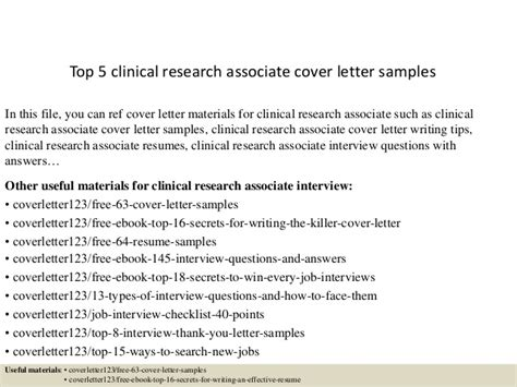 Cover Letter Clinical Research Associate by Top 5 Clinical Research Associate Cover Letter Sles