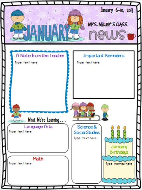 best photos of newsletter templates for teachers parent