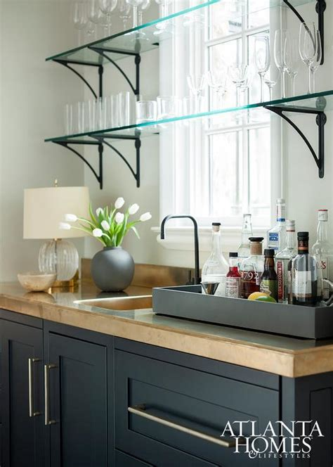 glass kitchen shelves bar shelves in front of windows design ideas