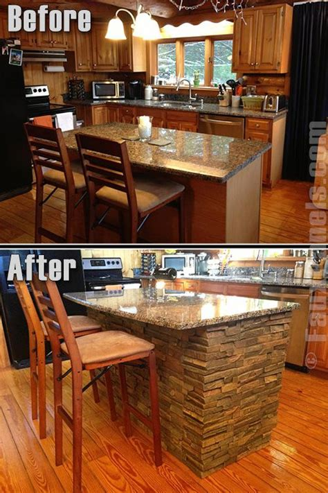 stone kitchen island faux panels earth and islands on pinterest