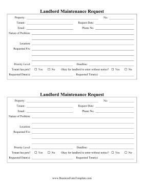Landlord Maintenance Request Template Tenant Maintenance Request Form Template