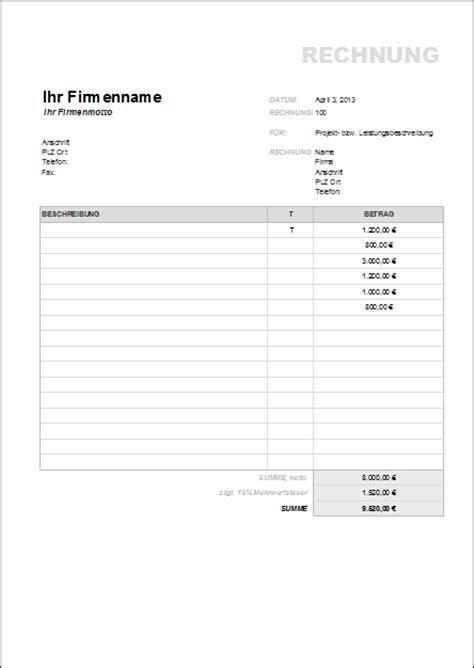 Musterrechnung Musiker Rechnungsvorlagen Und Muster Zum Herunterladen Office Lernen